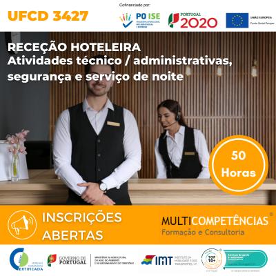 UFCD 3427 - Receção hoteleira - atividades técnico / administrativas, segurança e serviço de noite